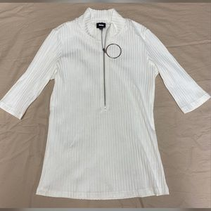 Short/long sleeve zip top